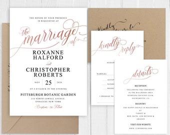 Rose gold Wedding Invitation Peach Blush Belly Band Elegant Faux RoseGold Script Printed Wedding Invite Set SC754(120LB premium card stock)