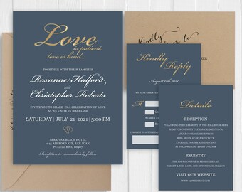 Dark grayish blue Wedding Invitation Set Gold Glitter Printed Wedding Invite RSVP Details Bridal Shower SC636(120LB premium card stock)