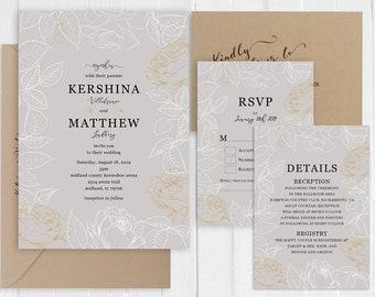 Wedding invitation Elegant Gold Glitter Wedding Invitation Set Printed Invite RSVP Map Menu Cards SC886(120LB premium card stock)