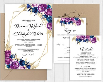 Purple Blue Watercolor Floral Invitation Set Faux Gold Printed Invite Suite Gold Marble Belly Band SC968(120LB premium card stock)