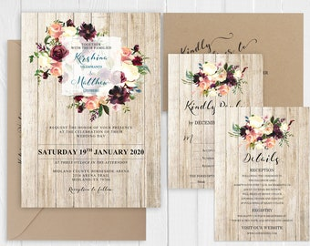 Rustic Wedding Burgundy Coral Peach Ivory Floral Wedding Invitation Hunter Green Barn Wood Printed Invite Set SC972(120LB premium cardstock)
