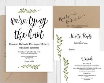 Greenery Wedding Invitation We're tying the knot Invitation Set Eucalyptus Invitation Printed Invite Suite SC707(120LB premium card stock)