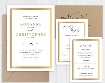 Elegant Gold Glitter Framed Wedding Invitation Set Birthdays Engagement Showers Faux Gold Printed Invite  SC753(120LB premium card stock)