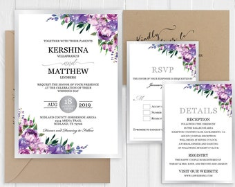 Purple Silver Wedding Invitation Set Romantic lavender mauve Floral Wedding Invitation Printed Invite Suite SC774(120LB premium card stock)