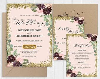 Pink Gold Glitter Wedding Invitation Burgundy Marsala Peach Navy Floral Wedding Printed Invite RSVP Details SC578(120LB premium card stock)