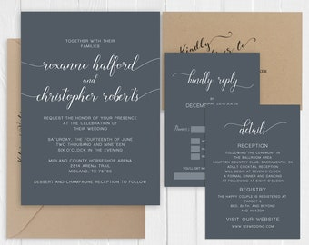 Dark Blue Grey Wedding Invitation Modern Calligraphy Wedding Invitations Stationary Printed Invite Suite SC740(120LB premium card stock)