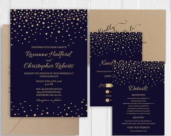 Navy Blue Wedding Invitations Gold Glitter Confetti Invite RSVP Thank You Details Accommodation Menu Cards-SC445 (120LB premium card stock)