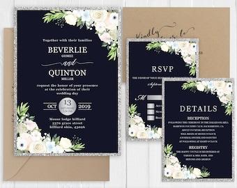 Navy Silver Wedding Invitation Elegant White Floral Wedding Invitations Faux Silver Printed Invite Set SC868(120LB premium card stock)