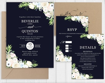 Navy White Wedding Invitation White Ivory Sky Blue Floral Wedding Invitation set Printed Invite RSVP Details SC867(120LB premium card stock)