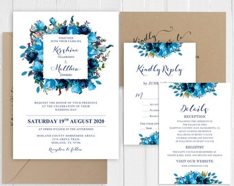 Watercolor Sky blue Turquoise Flowers Wedding Invitation Set Printed Invite Suite SC966(120LB premium card stock)