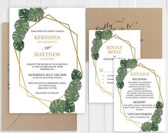 Tropical Wedding Invitation Summer Destination Wedding Invitation Tropical Leavs Palm Leaf Printed Invite Set SC820(120LB premium cardstock)