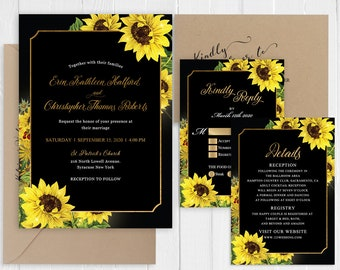 Rustic Sunflower Wedding Invitation Wedding Sunflowers Black Gold Invitations Printed Wedding Invite Set SC830(120LB premium card stock)
