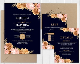 Bronze Blush pink Navy blue Wedding Invitation Set Country Wedding Roses Invitation Printed Invite Suite SC967(120LB premium card stock)