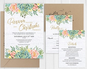 Succulent Wedding Invitation Rustic Cactus Peach Blush Floral Gold Wedding Invitation Printed Invite Set SC756(120LB premium card stock)