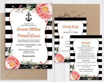 Nautical Wedding Invitation Modern Black Stripes Coral Floral Wedding Invitation Set Printed Invite Suite SC914(120LB premium card stock)