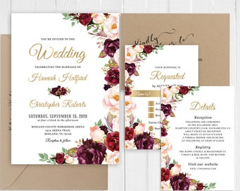 Elegant Rose Gold Wedding Invitation Set Invitations Rsvp Details Sc370 120lb Home Garden Invitations Stationery