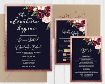 Wedding Invitations Rose Gold Navy Marsala Blush wedding invitation The adventure begins Printed Invite Set SC898(120LB premium card stock)