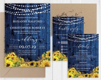 Sunflower Wedding Invitation Rustic Country Wedding Invitation Set Blue Wood Invitation Printed Invite Set SC814(120LB premium card stock)