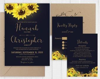 Rustic Navy Sunflower Wedding Invitation Wedding sunflower navy gold invitation Printed Wedding Invite Set SC849(120LB premium card stock)