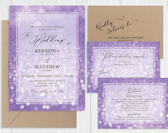 Purple Wedding Invitations Purple lilac Sparkles Invitation Suite Purple Bokeh Wedding Invitation Printed Invite RSVP Set SC882(120LB)