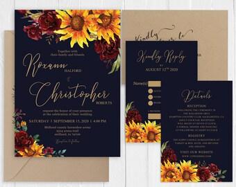 Rustic Navy Wedding Invitation Rustic Burgundy Cranberry Floral Sunflowers Gold Wedding Invitation Set SC839(120LB premium card stock)