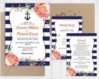 Navy Blue Summer Wedding Invitation Modern Navy Stripes Coral Floral Nautical Invitation Printed Invite Set SC926(120LB premium card stock)