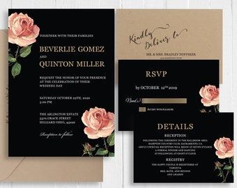 Vintage Rose Wedding Invitations Peach Blush Pink Gold Glitter Printed Wedding Invite RSVP Details Suite SC664(120LB premium card stock)