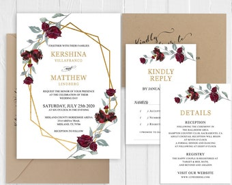 Wedding Invitation Burgundy Red Roses Greenery Wedding Invitation Set Printed Invite RSVP Details Cards SC969(120LB premium card stock)