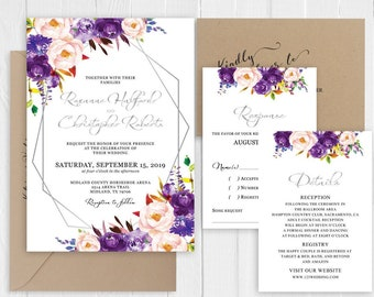 Silver Glitter Wedding Invitation Purple Lilac Lavender Blush Floral Wedding Invitation Printed Invite Suite SC965(120LB premium card stock)