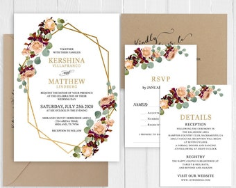 Dusty Rose Wedding Invitation Green Eucalyptus Gold Geometric Wedding Invitation Suite Printed Invite Set SC970(120LB premium cardstock)