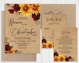 Sunflower Invitation Set