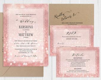 Wedding Invitations Rose Gold Sparkles Invitation Suite Blush Bokeh Wedding Invitation Printed Invite RSVP Set SC772(120LB)