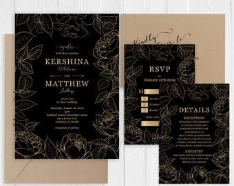 Vintage Black and Faux Gold Rose Wedding Invitation Suite Printed Invite Set SC889(120LB premium card stock)