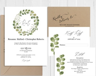 Greenery Wedding Invitation Watercolor Eucalyptus Wreath Leaves Botanical Invitation Printed Invite Suite SC708(120LB premium card stock)