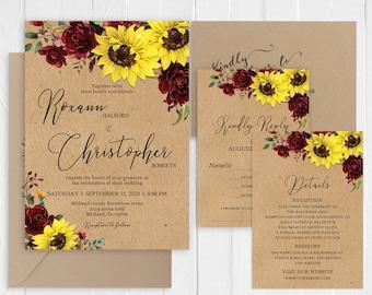 Rustic Yellow Sunflower Wedding Invitation  Burgundy Cranberry Floral Country Wedding Printed Invite Set SC974(120LB premium card stock)
