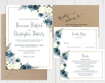 Dusty Blue Wedding Invitation Dusty Blue White Floral Faux Gold Invitations Printed Wedding Invite Set SC824(120LB premium card stock)