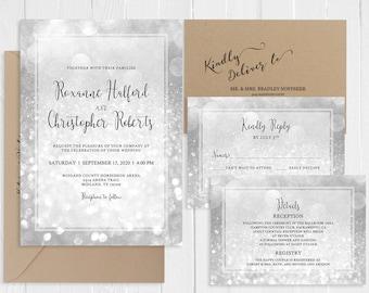 Silver Wedding Invitations Silver Sparkles Invitation Suite Silver Bokeh Wedding Invitation Printed Invite RSVP Set SC799(120LB)