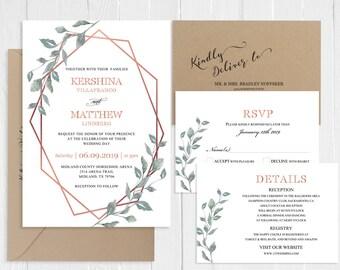 Green and Rose Gold Wedding Invitation Set Eucalyptus Rose Gold Geometric Wedding Printed Invite RSVP Suite SC778(120LB premium card stock)