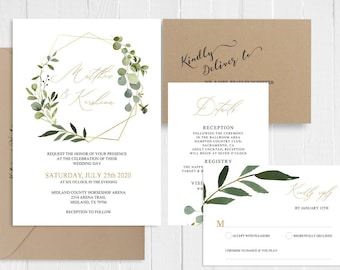 Green Eucalyptus Wedding Invitation Suite Garden Greenery Botanical Wedding Invitation Printed Invite Set SC761(120LB premium card stock)