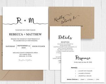 Black and White Wedding Invitation Modern Simple Minimalist Wedding Invitations Printed Invitation Set SC846(120LB premium card stock)