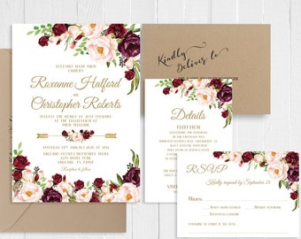 Wedding Invitation Set Rustic Burgundy Maroon Blush Floral Gold Boho Wedding Invitation Printed Invite Suite SC800(120LB premium card stock)