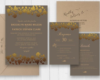 Gold rose Wedding Invitation Anniversary party invitation, 50th Anniversary invite, Printed invitation set, SC360 (120lb premium card stock)