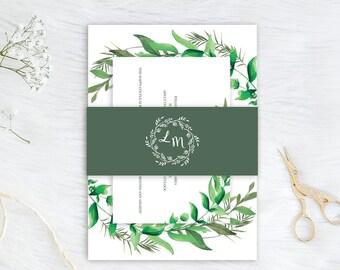 Greenery Wedding Invitation Set Watercolor Boho Green Wedding Invitation Eucalyptus Leaves Printed Invite SC624(120LB premium card stock)