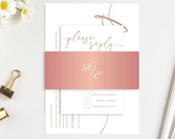 Elegant Rose Gold Glitter Wedding Invitation Forever Faux RoseGold Printed Invite RSVP Details Bridal shower SC645(120LB premium card stock)