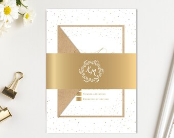 Wedding Invitation Gold Calligraphy Wedding Invitation Suite Printed Invite Set SC696(120LB premium card stock)