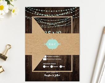 Rustic Wedding Invitation Mint String Lights Wedding Invitation Set Printed Invite RSVP Details Menu Cards SC874(120LB premium card stock)