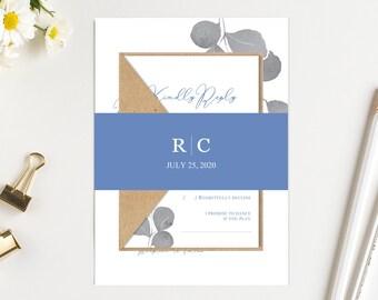 Powder blue Wedding Invitation Set Grey Leaves Light blue Wedding Invitation Printed wedding invite Set SC847(120LB premium card stock)