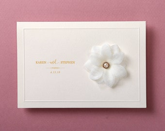 Custom Gold hot foil wedding invitation White flower wedding invitations All in one wedding invitation RSVP Free Envelope Seal - SWH6074