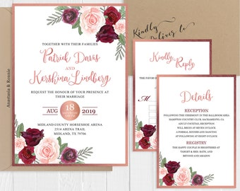 Rose Gold Wedding Invitation Set Faux Rose Gold Burgundy Peach flowers Printed Invite RSVP Details SC521(120LB premium card stock)