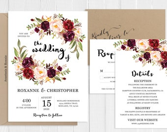 Burgundy Blush Floral Wedding Invitation Marsala Flowers Bohemian Wedding Suite Printed Invite Set SC145(120LB premium card stock)